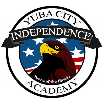 "Emblem with a hawk in the center. Text reads: "" Yuba City Independence Academy, home of the hawks"""